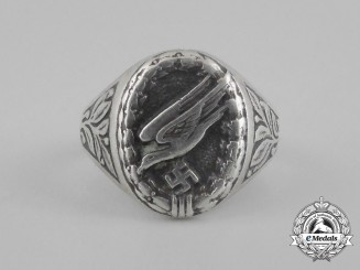 A Fallschirmjäger Silver Ring; Inscribed October 1940