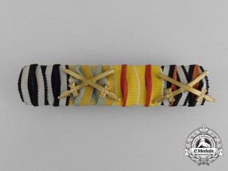 A First War German Baden Medal Ribbon Bar with Four Ribbons