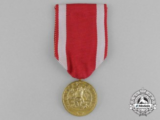 A Czechoslovakian Military Order of the White Lion; 4th Class Gold Grade Medal