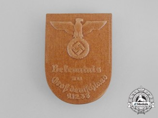 A 1938 Oath of Allegiance to Greater Germany Ceremony Badge