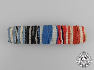A Bavarian Medal Ribbon Bar with Five Medals, Awards, and Decorations