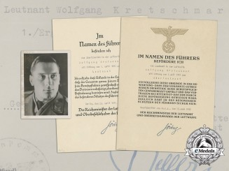 An Extensive Document Group to Luftwaffe Ace Wolfgang Kretschmer; 19 Victories