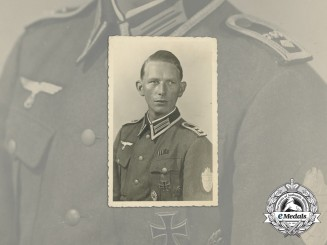A Wartime Photo of a Feldwebel with Iron Cross 1st Class & Demyansk Shield