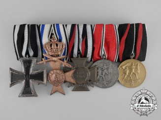 A Fine First and Second War German Bavarian Military Merit Cross Medal Bar