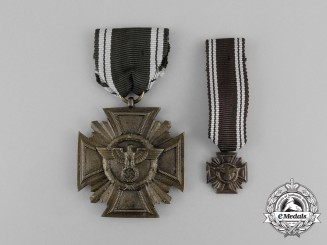 A Mint NSDAP 10-Year Long Service Medal with Matching Miniature; Heavy Version