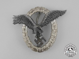 A Fine Early Luftwaffe Pilot's Badge by C. E. Juncker (J-1)