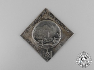 A 1939 DRL Upper Danube Bad-Aussee Ski Championship Participation Table Medal