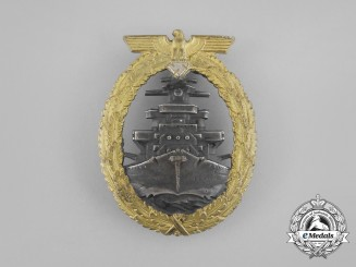 A Mint Early Quality Kriegsmarine High Seas Fleet Badge by Schwerin of Berlin