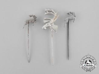 Three Second War German Hunter's Association Stick Pins