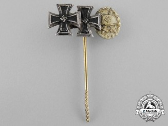An Iron Cross 1939 First and Second Class & Gold Grade Wound Badge Miniature Stick Pin