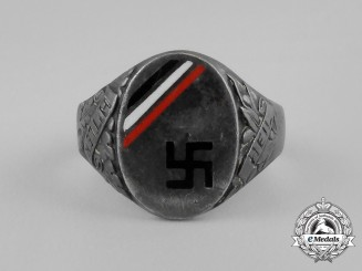 A Third Reich Period German Veteran's Ring; Silver