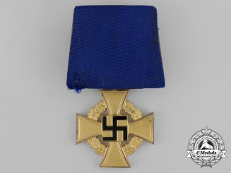 A Parade Mounted Third Reich Period German 40-Year Faithful Service Cross; First Class