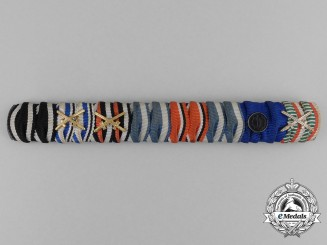 An Extensive First and Second War German SS-Long Service Medal Ribbon Bar