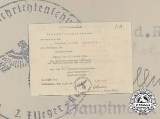A Luftwaffe Pilot's Badge Award Document 1940