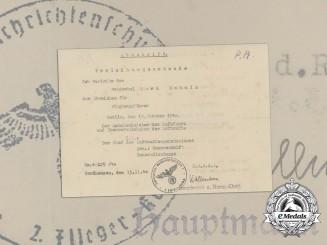 A Luftwaffe Pilot's Badge Award Document 1940