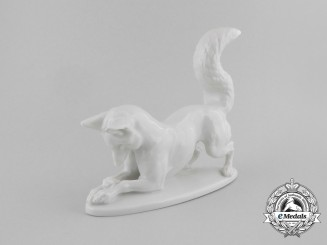 An SS Allach-Made Male Fox Figurine by Theodor Kärner