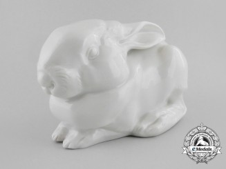 An SS Allach-Made Young Hare Figurine by Theodor Kärner & Franz Nagy