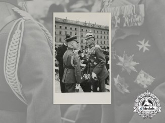 A Wartime Period Meeting of Two General's Photo at Nuremberg