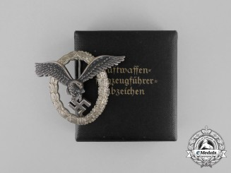 A Cased Early Quality Luftwaffe Pilot's Badge by Berg & Nolte