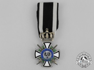 A Prussian Royal House Order of Hohenzollern; Knight's Cross with Swords by Sy & Wagner