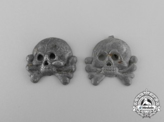 A Pair of Panzer Collar Skulls