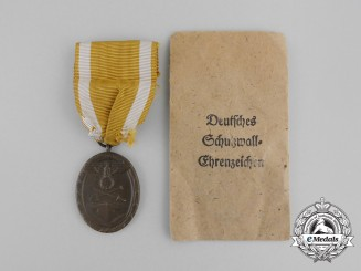 A Third Reich Period German Defence Wall (West Wall) Medal in its Original Packet of Issue