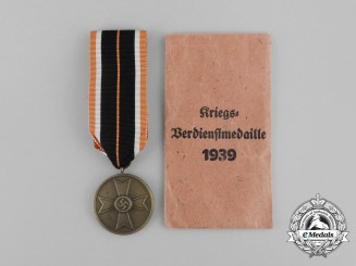 A Third Reich German War Merit Medal with its Packet of Issue by Julius Maurer