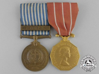 A UN Korea Medal and Canadian Forces' Decoration Pair