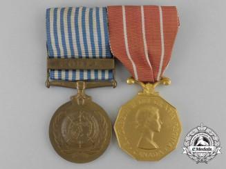 A UN Korea Medal and Canadian Forces' Decoration Pair