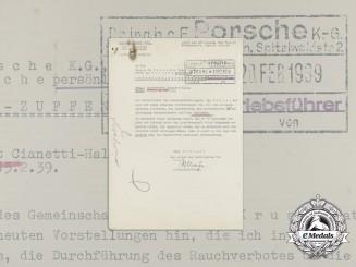 A 1939 Letter to Dr. Porsche Regarding VW Factory Policies