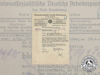 An NSDAP District Office Promotion Document for Reich Railroad