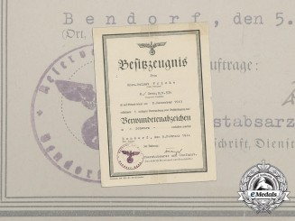 A Black Grade Wound Badge Award Certificate to Grenadier Helmut Fricke