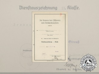 A Wehrmacht 4-Year Long Service Award Document to NCO Walter Franz Stübig