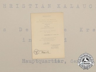 A Luftwaffe DKG Award Document to Goblet Recipient Christian Kalauch