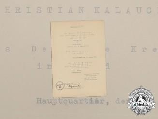 A Luftwaffe DKG Award Document to Goblet Recipient Christian Kalauch