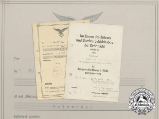 "Two Documents to Luftwaffe ""Legion Condor"" Staff Sergeant Erich Kniep"