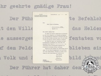A Posthumous Award Notice for a Knight's Cross to Dieter Clemm von Hohenberg