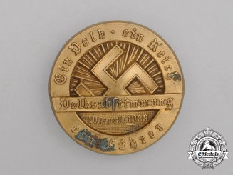 "A 1938 ""One Nation, One Empire, One Leader"" Plebiscite Badge by P.H. Turk of Vienna"