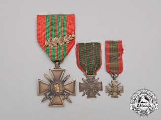Three French Second War Croix de Guerres 1939-1945