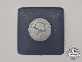 A Mint Cased 14th Panzer Division Motorcycle Reconnaissance Battalion Medal by Deschler
