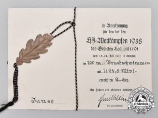 A Rare Regional Bavarian HJ Competition Award Certificate and Decoration