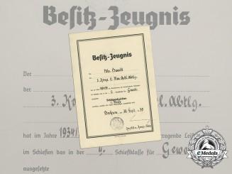 A 1934 Kriegsmarine Marksmanship Certificate to Matrose Haardt