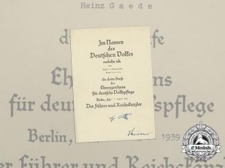 A 3rd Grade Social Welfare Decoration Award Document to Major Heinz Gaede