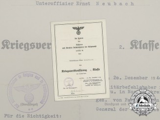 A 1940 War Merit Cross 2nd Class with Swords Document to NCO Ernst Neubach
