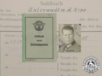 A Soldbuch to Partisan Fighting Hilfspolizei Constable Josef Müller, Sen.