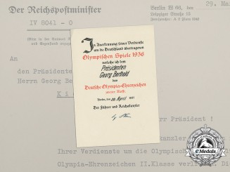 An Olympic Honour Badge Award Document to Georg Berthold