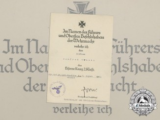 An Iron Cross 2nd Class Award Document Signed by Commander Hans Zorn