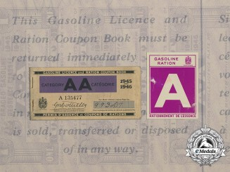 A Second War Gasoline Ration Coupon Book and Motor Vehicle Windshield Decal 1945-1946