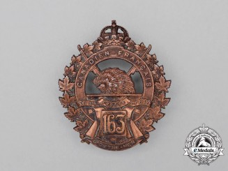 "A First War 163rd Infantry Battalion ""Canadiens Francais"" Cap Badge"