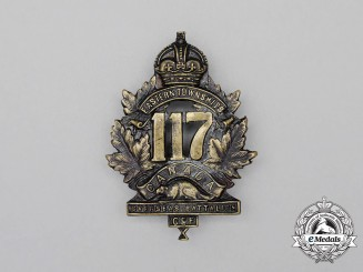 "A First War 117th Infantry Battalion ""Eastern Township Battalion"" Cap Badge"